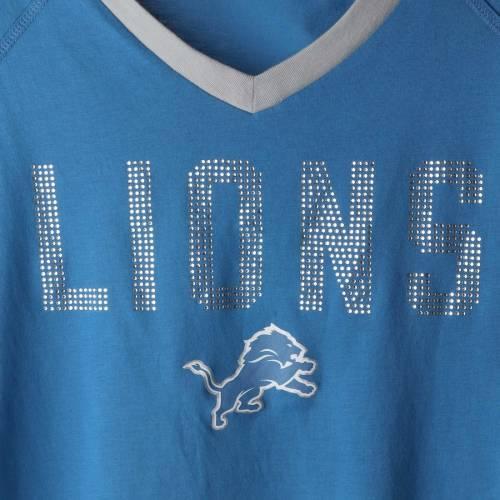 TOUCH BY ALYSSA MILANO デトロイト ライオンズ レディース アルティメイト ラグラン ブイネック Tシャツ 青 ブルー レディースファッション トップス カットソー 【 Detroit Lions Womens Ultimate Fan