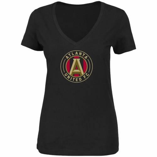 マジェスティック MAJESTIC アトランタ レディース ブイネック Tシャツ 黒 ブラック レディースファッション トップス カットソー 【 Atlanta United Fc Womens Plus Size Primary V-neck T-shirt - Black 】 B