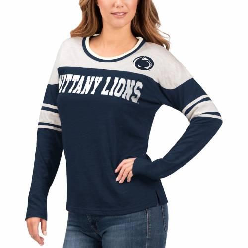 G-III 4HER BY CARL BANKS スケートボード ライオンズ レディース スリーブ ストライプ Tシャツ レディースファッション トップス カットソー 【 Penn State Nittany Lions Womens Interception Sleeve Stripe Lon