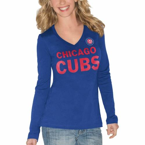 G-III 4HER BY CARL BANKS シカゴ カブス レディース スリーブ Tシャツ レディースファッション トップス カットソー 【 Chicago Cubs Womens Post Season Long Sleeve T-shirt - Royal 】 Royal
