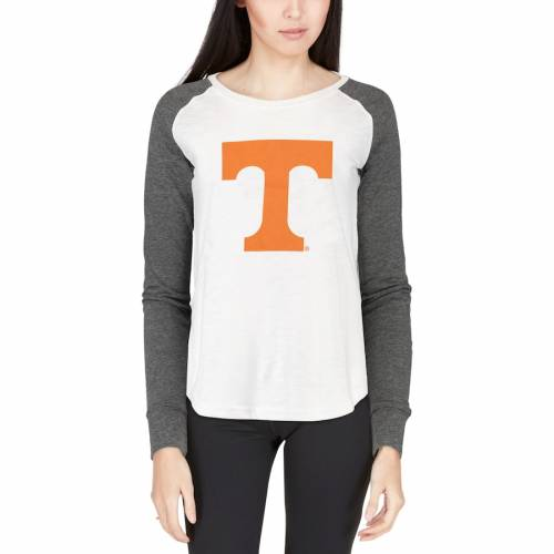 BOXERCRAFT テネシー レディース スリーブ Tシャツ 白 ホワイト レディースファッション トップス カットソー 【 Tennessee Volunteers Womens Preppy Elbow Patch Slub Long Sleeve T-shirt - White 】 White