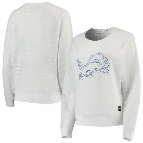 DKNY SPORT デトロイト ライオンズ レディース スリーブ Tシャツ 黒 ブラック レディースファッション トップス カットソー 【 Detroit Lions Womens Lauren Mesh Long Sleeve T-shirt - Black 】 White
