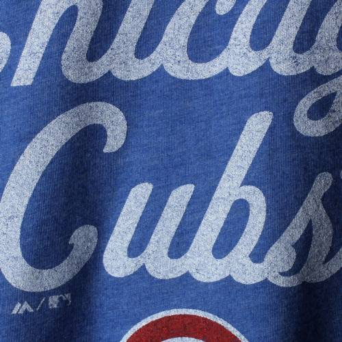 MAJESTIC THREADS シカゴ カブス レディース ラグラン Tシャツ レディースファッション トップス カットソー 【 Chicago Cubs Womens 3/4-sleeve Raglan T-shirt - Royal 】 Royal