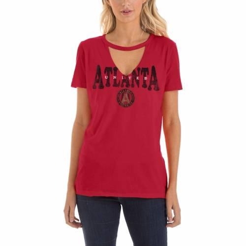 5TH & OCEAN BY NEW ERA アトランタ レディース ブイネック Tシャツ 赤 レッド レディースファッション トップス カットソー 【 Atlanta United Fc 5th And Ocean By New Era Womens Athletic Baby V-neck T-shirt - R