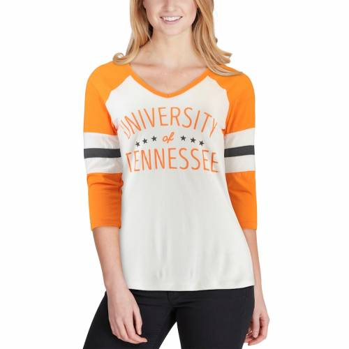 PRESSBOX テネシー レディース ブイネック Tシャツ 橙 オレンジ レディースファッション トップス カットソー 【 Tennessee Volunteers Womens Pomona 3/4-sleeve V-neck T-shirt - Cream/tennessee Orange 】 Cream/ten