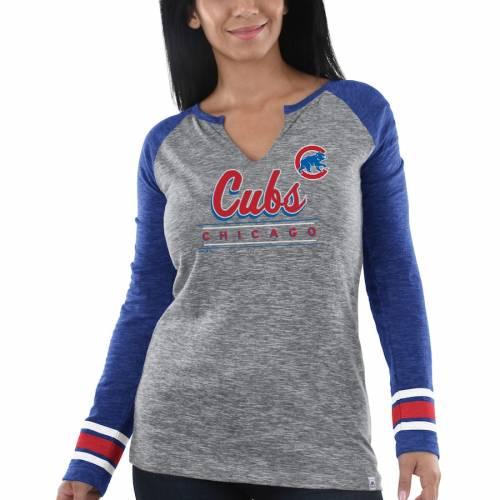 マジェスティック MAJESTIC シカゴ カブス レディース スリーブ Tシャツ レディースファッション トップス カットソー 【 Chicago Cubs Womens Times Running Out Long Sleeve T-shirt - Heathered Gray/royal 】 He