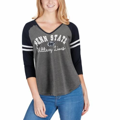 COLOSSEUM スケートボード ライオンズ レディース ブイネック Tシャツ チャコール レディースファッション トップス カットソー 【 Penn State Nittany Lions Womens Curling 3/4-sleeve V-neck T-shirt - Charco
