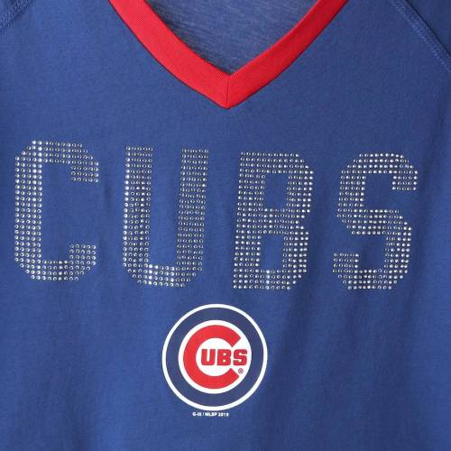 TOUCH BY ALYSSA MILANO シカゴ カブス レディース アルティメイト ラグラン ブイネック Tシャツ レディースファッション トップス カットソー 【 Chicago Cubs Womens Ultimate Fan 3/4-sleeve Raglan V-neck T-