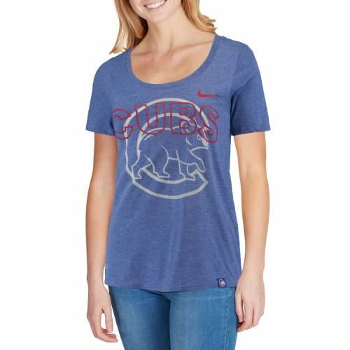ナイキ NIKE シカゴ カブス レディース パフォーマンス Tシャツ レディースファッション トップス カットソー 【 Chicago Cubs Womens Burnout Scoop Neck Performance T-shirt - Heathered Royal 】 Heathered Royal