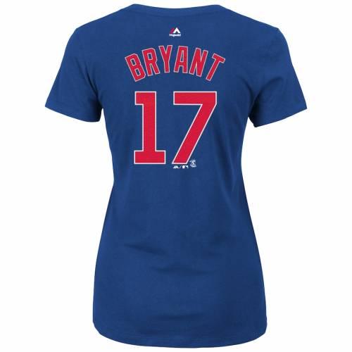 マジェスティック MAJESTIC ブライアント シカゴ カブス レディース ブイネック Tシャツ レディースファッション トップス カットソー 【 Kris Bryant Chicago Cubs Womens Name And Number V-neck T-shirt -