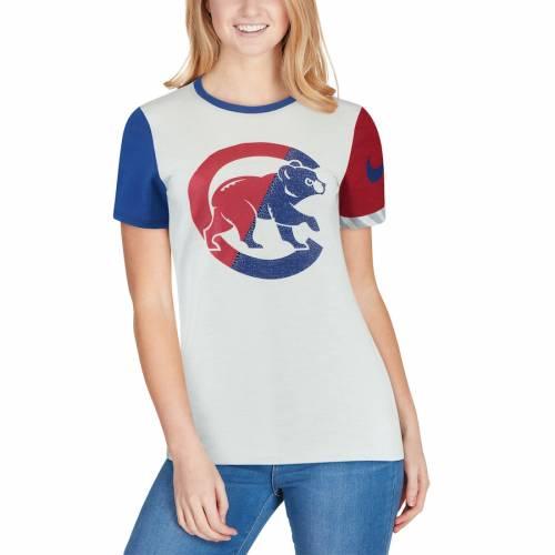 ナイキ NIKE シカゴ カブス レディース ロゴ パフォーマンス Tシャツ レディースファッション トップス カットソー 【 Chicago Cubs Womens Slub Two-tone Logo Performance Crew Neck T-shirt - Heathered White/roy