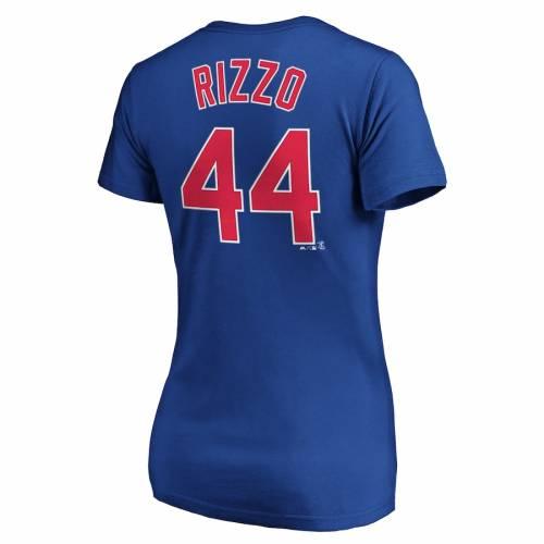 マジェスティック MAJESTIC アンソニー シカゴ カブス レディース ブイネック Tシャツ レディースファッション トップス カットソー 【 Anthony Rizzo Chicago Cubs Womens Official Name And Number V-neck T-