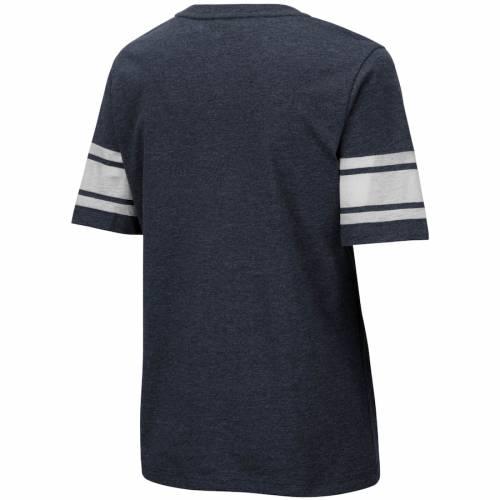 COLOSSEUM スケートボード ライオンズ レディース 青 ブルー ブイネック Tシャツ 紺 ネイビー レディースファッション トップス カットソー 【 Penn State Nittany Lions Womens Blue Blood Football V-neck