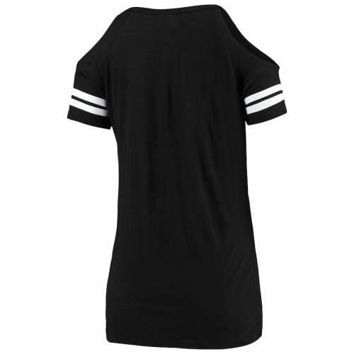 ニューエラ NEW ERA セインツ レディース Tシャツ 黒 ブラック レディースファッション トップス カットソー 【 New Orleans Saints Womens Varsity Cold Shoulder T-shirt - Black 】 Black