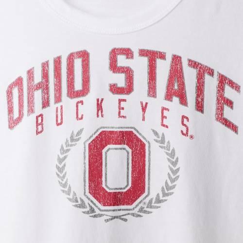 SCARLET & GREY オハイオ スケートボード レディース スリーブ Tシャツ 白 ホワイト レディースファッション トップス カットソー 【 Ohio State Buckeyes Womens Favorite Laurels Long Sleeve T-shirt - White