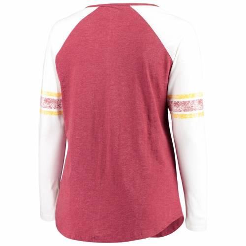 PROFILE ワシントン レッドスキンズ レディース ラグラン スリーブ Tシャツ ワイン色 バーガンディー レディースファッション トップス カットソー 【 Washington Redskins Womens Plus Size Notch Ragla