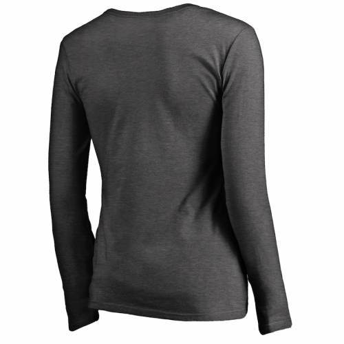 NFL PRO LINE BY FANATICS BRANDED セインツ レディース ロゴ ブイネック Tシャツ 灰色 グレー グレイ レディースファッション トップス カットソー 【 New Orleans Saints Womens Primary Logo V-neck Long-sleeve