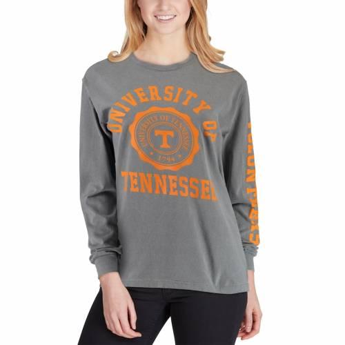 SUMMIT SPORTSWEAR テネシー レディース スリーブ Tシャツ 灰色 グレー グレイ レディースファッション トップス カットソー 【 Tennessee Volunteers Womens Oversized Comfort Colors University Seal Long Sleeve T-s