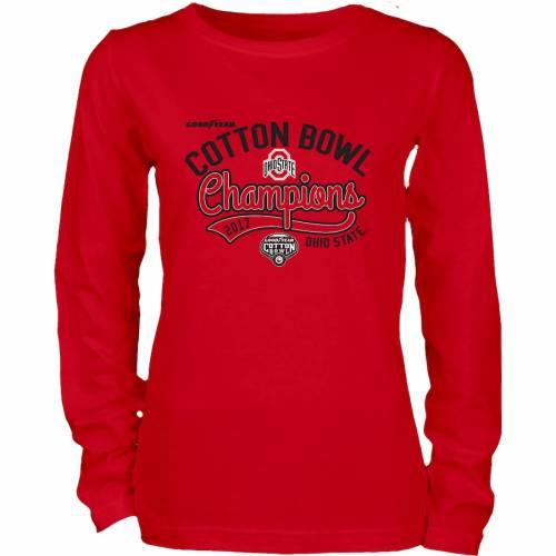 BLUE 84 オハイオ スケートボード レディース スリーブ Tシャツ レディースファッション トップス カットソー 【 Ohio State Buckeyes Womens 2017 Cotton Bowl Champions Long Sleeve T-shirt - Scarlet 】 Scarlet