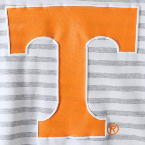 GAMEDAY COUTURE テネシー レディース スリーブ Tシャツ レディースファッション トップス カットソー 【 Tennessee Volunteers Womens Elbow Patch Striped Long Sleeve T-shirt - Heathered Gray/white 】 Heathered Gray/whi