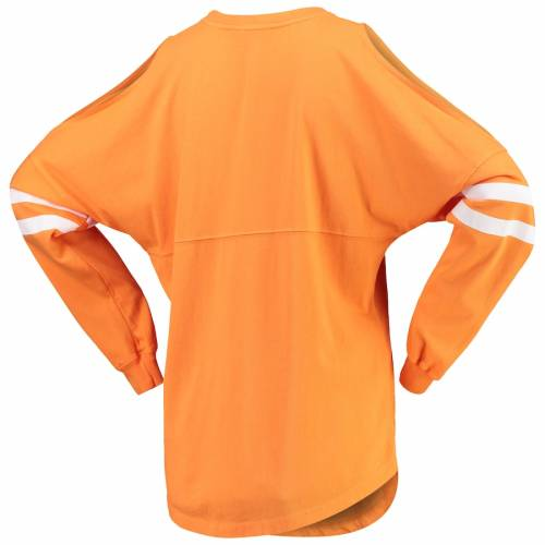 SPIRIT JERSEY テネシー レディース Tシャツ 橙 オレンジ レディースファッション トップス カットソー 【 Tennessee Volunteers Womens Cold Shoulder T-shirt - Tennessee Orange 】 Tennessee Orange