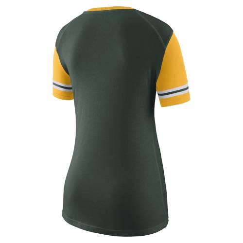 ナイキ NIKE オークランド レディース ブイネック Tシャツ 緑 グリーン レディースファッション トップス カットソー 【 Oakland Athletics Womens Wordmark Colorblock V-neck T-shirt - Green 】 Green