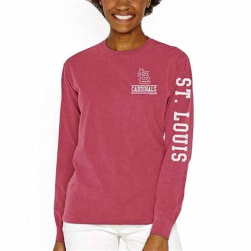 SOFT AS A GRAPE カーディナルス レディース スリーブ Tシャツ 赤 レッド St. レディースファッション トップス カットソー 【 St. Louis Cardinals Womens Pigment Dye Comfort Color Long Sleeve T-shirt - Red 】 Re