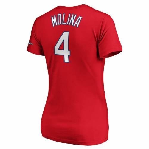 マジェスティック MAJESTIC カーディナルス レディース ブイネック Tシャツ 赤 レッド St. レディースファッション トップス カットソー 【 Yadier Molina St. Louis Cardinals Womens 2019 Postseason Name An