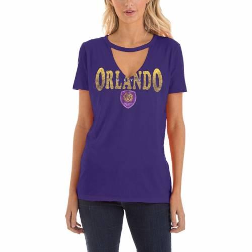 5TH & OCEAN BY NEW ERA オーランド シティ レディース ブイネック Tシャツ 紫 パープル レディースファッション トップス カットソー 【 Orlando City Sc 5th And Ocean By New Era Womens Athletic Baby V-neck