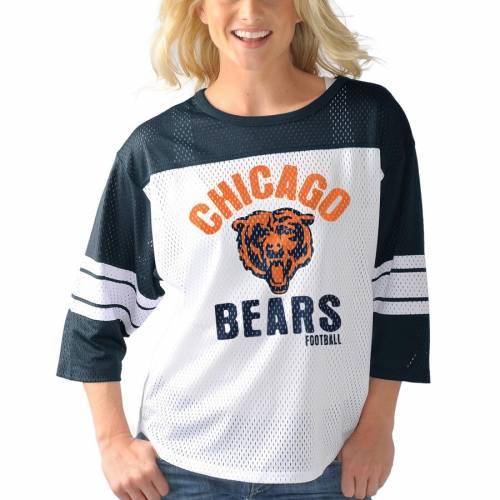 G-III 4HER BY CARL BANKS シカゴ ベアーズ レディース チーム スリーブ Tシャツ レディースファッション トップス カットソー 【 Chicago Bears Womens First Team Three-quarter Sleeve Mesh T-shirt - White/navy 】