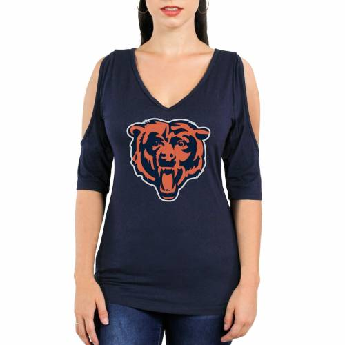 MAJESTIC THREADS シカゴ ベアーズ レディース ブイネック Tシャツ 紺 ネイビー レディースファッション トップス カットソー 【 Chicago Bears Womens Cold Shoulder 3/4-sleeve V-neck T-shirt - Navy 】 Navy