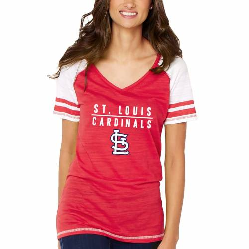 SOFT AS A GRAPE カーディナルス レディース ブイネック Tシャツ 赤 レッド St. レディースファッション トップス カットソー 【 St. Louis Cardinals Womens Color Block V-neck T-shirt - Red 】 Red