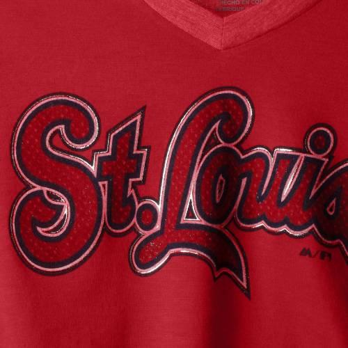 マジェスティック MAJESTIC カーディナルス レディース クイック ラグラン Tシャツ 赤 レッド St. レディースファッション トップス カットソー 【 St. Louis Cardinals Womens Quick Hands Raglan Half-sle