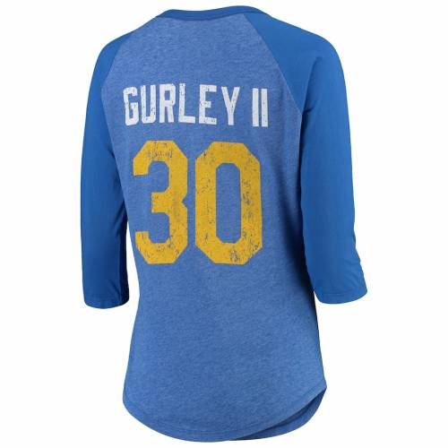 MAJESTIC THREADS ラムズ レディース ラグラン Tシャツ レディースファッション トップス カットソー 【 Todd Gurley Ii Los Angeles Rams Womens Player Name And Number Raglan Tri-blend 3/4-sleeve T-shirt - Royal 】 Roya