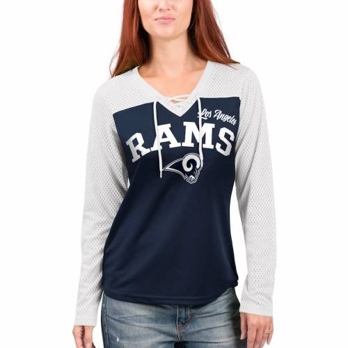 G-III 4HER BY CARL BANKS ラムズ レディース スリーブ Tシャツ レディースファッション トップス カットソー 【 Los Angeles Rams Womens Laces Out Long Sleeve T-shirt - White/navy 】 White/navy