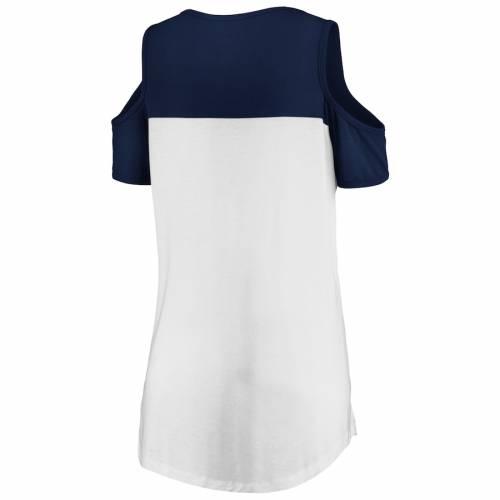 マジェスティック MAJESTIC シカゴ ベアーズ レディース ピュア Tシャツ レディースファッション トップス カットソー 【 Chicago Bears Womens Pure Dedication Open Shoulder T-shirt - White/navy 】 White/navy