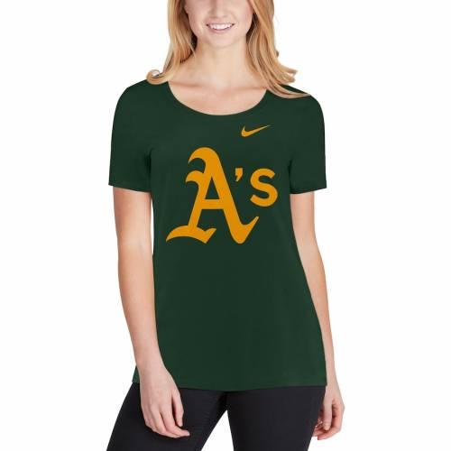 ナイキ NIKE オークランド レディース ロゴ Tシャツ 緑 グリーン レディースファッション トップス カットソー 【 Oakland Athletics Womens Logo Scoop Neck T-shirt - Green 】 Green