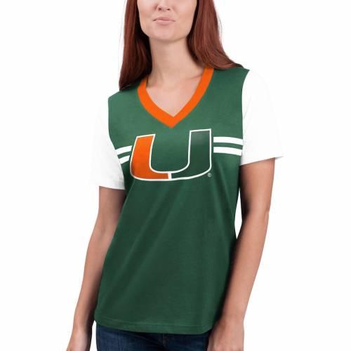 G-III 4HER BY CARL BANKS マイアミ レディース ラッシュ ブイネック Tシャツ 緑 グリーン レディースファッション トップス カットソー 【 Miami Hurricanes Womens Pass Rush V-neck T-shirt - Green 】 Green