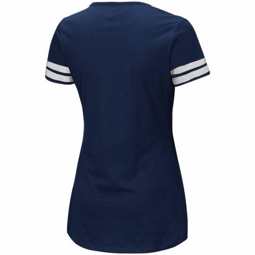 マジェスティック MAJESTIC ラムズ レディース Tシャツ レディースファッション トップス カットソー 【 Los Angeles Rams Womens Showtime Tailgate Party Notch Neck T-shirt - Navy/white 】 Navy/white