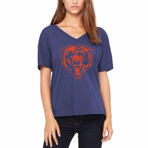LET LOOSE BY RNL シカゴ ベアーズ レディース ブイネック Tシャツ 紺 ネイビー レディースファッション トップス カットソー 【 Chicago Bears Womens Distressed Primary V-neck T-shirt - Navy 】 Navy