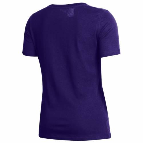 アンダーアーマー UNDER ARMOUR レディース ロゴ パフォーマンス ブイネック Tシャツ 紫 パープル レディースファッション トップス カットソー 【 Northwestern Wildcats Womens Logo Performance V-neck T