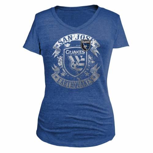 5THOCEAN BY NEW ERA レディース ブイネック Tシャツ ヘザーWOMEN'SHEATHER 5TH OCEAN BY NEW ERA SAN JOSE EARTHQUAKES TRIBLEND VNECK TSHIRT ROYALレディースファッション トップス Tシャツ カットULqMzpSVG