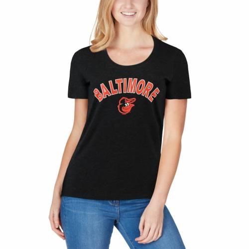 '47 ボルティモア オリオールズ レディース クラブ Tシャツ 黒 ブラック レディースファッション トップス カットソー 【 Baltimore Orioles Womens Club Scoop Neck T-shirt - Black 】 Black