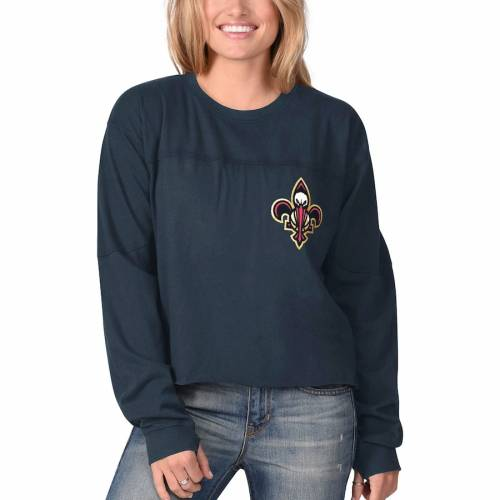 G-III SPORTS BY CARL BANKS レディース スリーブ Tシャツ 紺 ネイビー レディースファッション トップス カットソー 【 New Orleans Pelicans Womens Pressbox Oversized Raw Edge Long Sleeve T-shirt - Navy 】 Navy