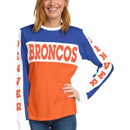 JUNK FOOD デンバー ブロンコス レディース スリーブ Tシャツ レディースファッション トップス カットソー 【 Denver Broncos Womens Color Block Racer Long Sleeve T-shirt - Royal/orange 】 Royal/orange