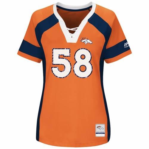 マジェスティック MAJESTIC デンバー ブロンコス レディース ブイネック Tシャツ 橙 オレンジ レディースファッション トップス カットソー 【 Von Miller Denver Broncos Womens Draft Him Name And Number