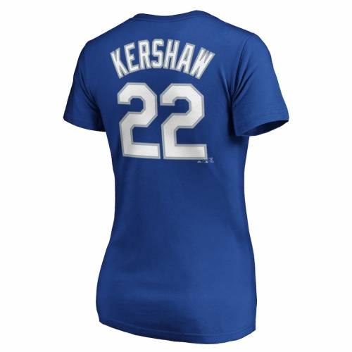 マジェスティック MAJESTIC ドジャース レディース ブイネック Tシャツ レディースファッション トップス カットソー 【 Clayton Kershaw Los Angeles Dodgers Womens Official Name And Number V-neck T-shirt - Roy