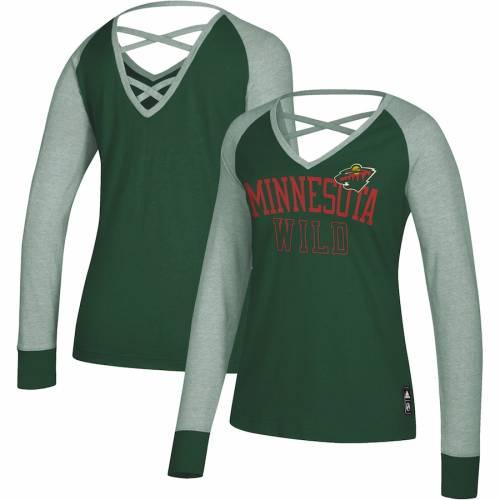 アディダス ADIDAS ミネソタ ワイルド レディース スリーブ Tシャツ 緑 グリーン レディースファッション トップス カットソー 【 Minnesota Wild Womens Contrast Long Sleeve T-shirt - Green 】 Green