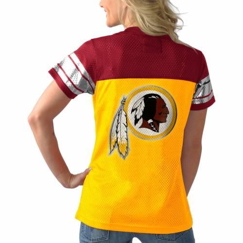 G-III 4HER BY CARL BANKS ワシントン レッドスキンズ ラッシュ Tシャツ レディースファッション トップス カットソー レディース 【 Washington Redskins Pass Rush T-shirt - Gold 】 Gold
