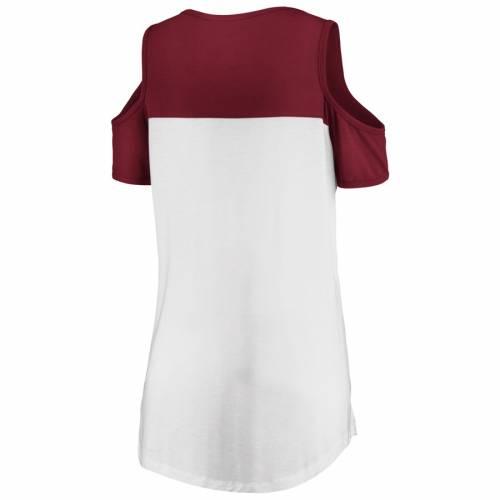 マジェスティック MAJESTIC ワシントン レッドスキンズ レディース ピュア Tシャツ レディースファッション トップス カットソー 【 Washington Redskins Womens Pure Dedication Open Shoulder T-shirt - White